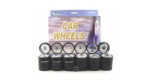 CHROME REPLACEMENT WHEELS & TIRES SET RIMS FOR 1/24 SCALE CARS AND TRUCKS 2003