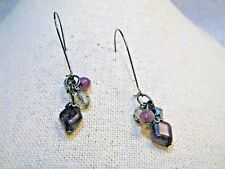 "Amethyst & Smoke Beaded Pierced Earrings, Cluster,  2"",  1980's-2000"