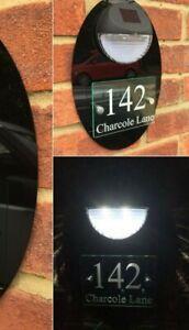 MODERN HOUSE SIGN PLAQUE DOOR NUMBER STREET GLASS EFFECT BLACK LED SOLAR LIGHT