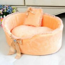 Luxury Dog Bed Pet Cat Mat House Rhinestone Bow Lace Pillows Small Animal Nest