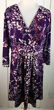VIVIENNE TAM Dress Size L Stretch V-Neck 3/4 Sleeve Faux Wrap Purple Floral