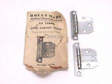 NOS! VINTAGE HOLLY MADE CHROME STEEL FLUSH HINGES, BLUE LINES, STEPPED CORNERS