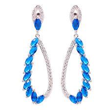 """Tanzanite Zircon Silver Hot Sell Women Jewelry Gemstone Stud Earrings 2"""" FH6618"""