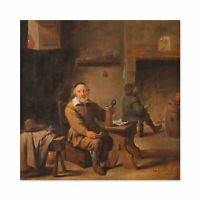 Teniers The Old Beer Drinker Portrait Painting Wall Art Canvas Print 24X24 In