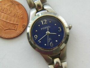 WOM BLUE DIAL F2 FOSSIL SS QUARTZ WATCH & BRACELET