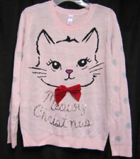 Cat Merry Christmas Sweater Juniors Large 11 to 13 Pink Red Bow No Boundaries