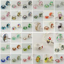 NEU Orginal Echt 925 Sterling Silber European Beads Murano Glas Bettelarmband