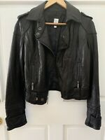 Aqua Womens Black Leather Biker Coat Motorcycle Jacket Outerwear Moto SMALL FLAW