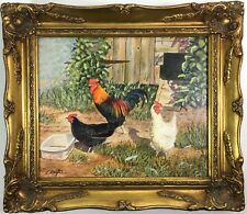 KNIGHT: Vibrant OIL Painting 'Scratching About' Hens Roosters Signed Framed