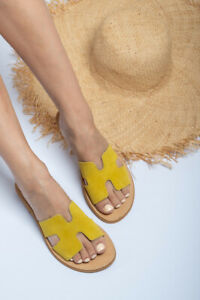 Ancient Greek style yellow suede flat real leather h slide sandals handmade