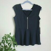 Tail Cap Sleeve Peplum Scoopneck Top Sz M Navy Blue Womens Activewear
