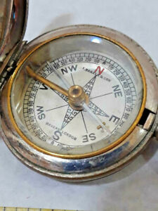 Antique Francis Barker & Sons Makers London Victorian Pocket COMPASS