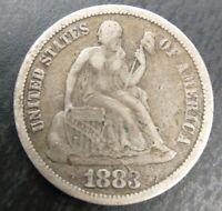 1883 P Seated Liberty Silver Dime , F Fine or Very Fine VF Original