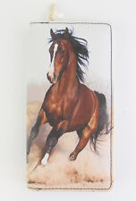 Horse Wallet Purse - running Bay horse on both sides Multicoloured