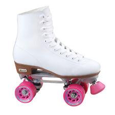 New! Chicago Roller Skates Women's Rink Pink Wheels Speed Hooks White  Size 10