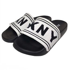 DKNY Zora Logo Embroidered Flipflop Slide Sandals White Black Women's Size 6.5-7
