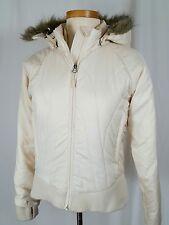 Marmot Fur Trim Hooded Jacket Coat Woman Sz S Insulated Nylon Puffer Cream Zip
