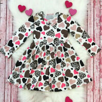 Toddler Kids Baby Girl Valentine Heart Leopard Princess Long Sleeve Dress Outfit