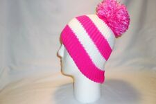 LUXURY PINK AND WHITE STRIPED BOBBLE HAT BEANIE FLEECE LINED MENS WOMENS KIDS