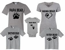 New! Papa Mama Baby Bear Sister Bother Family Gray T-shirts sizes Newborn-5Xl