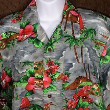 VTG Tropical Floral Print Med Camp Hawaiian Shirt Surfers Waikiki Holiday