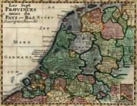 United Provinces Netherlands Nederland 1775 miniature Fresnoy antique map