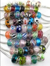 10X  Murano Glass Sliver P Ceramics Crystal Beads Charms Fit Europ Bracelets #
