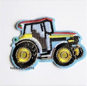 Blau Traktor Bestickt Aufbügeln Applikation Motiv Patch Jungen Herren Kleidung