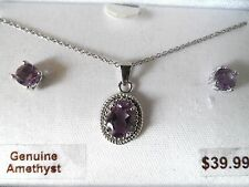 New Sterling Silver & Genuine Amethyst Stud Earrings and Pendant Set