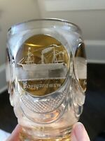 Antique Bohemian German Moser ETCHED Glass Goblet BOAT Bldg Amber Cut to Clear