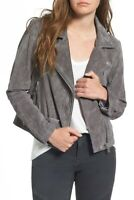 New BLANKNYC 100% Leather Suede Moto Jacket Womens Size XS Gray Zip