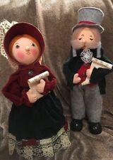 "Vintage Christmas Caroler Dolls 12"" Figures Cloth-Lace-Cardboard-Styrofoam Decor"
