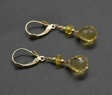#BE111 New 14K Solid Gold Natural Briolette Citrine Drop Earrings 12mm by 8mm