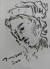 JOSE TRUJILLO EXPRESSIONISM ORIGINAL CHARCOAL DRAWING FIGURATIVE PORTRAIT WOMAN