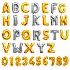 """Silver/Gold Letter&Number Foil Balloons Birthday Celebration Party Decor 14-16"""""""