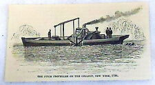 1878 small magazine engraving ~The Fitch Propeller On The Collect, New York 1796