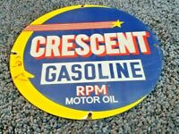 VINTAGE CRESCENT GASOLINE PORCELAIN MOON GAS SERVICE STATION PUMP PLATE SIGN