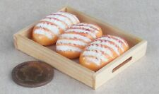 1:12 Scale 3 Loose Farmhouse Loaves On Wooden Tray Dolls House Bakery Accessory