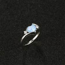 White Fire Opal 925 Silver Heart Gemstone Lady Jewelry Ring Size 5 6 7 8 9 10 11