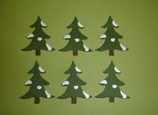 6 CHRISTMAS TREES WITH SNOW DIE CUTS EMBELLISHMENTS SCRAPBOOKING XMAS SNOWING