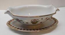 Gravy Boat Sauce Flower Ginger Jar Vase Design Attached Plate Chinese Vintage