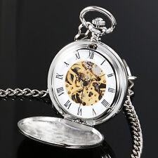 Pocket Watch Silver Case Mechanical Mens Skeleton Gift Vintage Full Gloss Chain