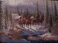 LEANIN TREE CHRISTMAS CARD SET COWBOYS IN THE WINTER SNOW 10 PK NEW !