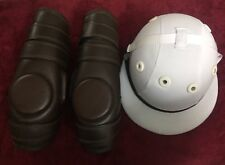 Polo Helmet traditional Cotton Twill Fibre Glasses & Pair Of Polo Knee Guard