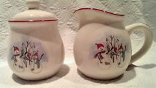 ROYAL SEASONS STONEWARE SNOWMEN SUGAR & CREAMER RED RIM