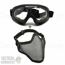 Airsoft X400 Clear Lens Goggles + Mesh Wire Mask Full Face Protection Glasses