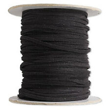 Necklace Bracelet Cord, Faux Leather, Suede Lace Black Soft Cotton Vegan 25 feet