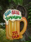 FREE BEER TOMORROW MUG BAR  TROPICAL TIKI HUT SIGN PLAQUE