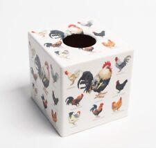 Pollos caja de pañuelos cubierta de madera hecho a mano en Reino Unido placa recortada