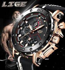 LIGE Fashion Men Quartz Watch Luxury Big Dial Casual Leather Waterproof Watch